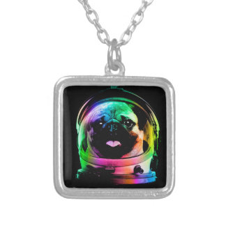 Astronaut pug - galaxy pug - pug space - pug art silver plated necklace