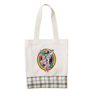 Astronaut riding a unicorn zazzle HEART tote bag