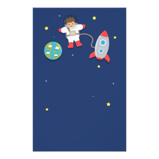 Astronaut, Rocket Ship, Outer Space, For Boys Stationery