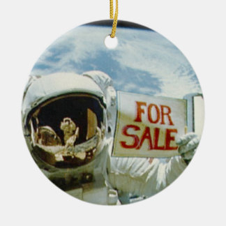 Astronaut Sells Earth Double-Sided Ceramic Round Christmas Ornament