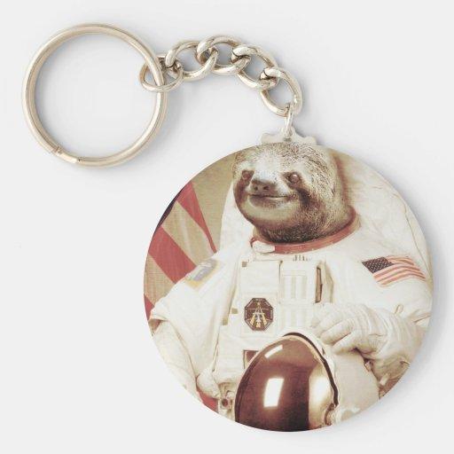 Astronaut Sloth Basic Round Button Keychain