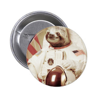 Astronaut Sloth Pinback Buttons