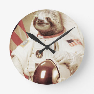 Astronaut Sloth Round Wall Clock