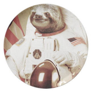 Astronaut Sloth Dinner Plate