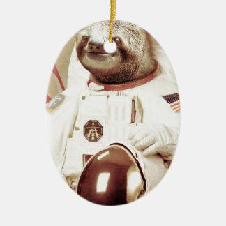 Astronaut Sloth Double-Sided Oval Ceramic Christmas Ornament