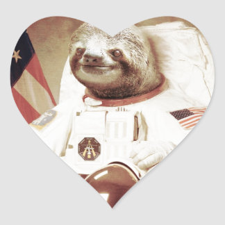 Astronaut Sloth Heart Sticker