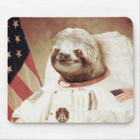 Astronaut Sloth Mouse Pad