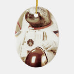 Astronaut Sloth Double-Sided Oval Ceramic Christmas Ornament