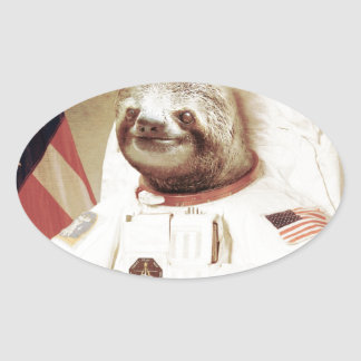 Astronaut Sloth Oval Sticker