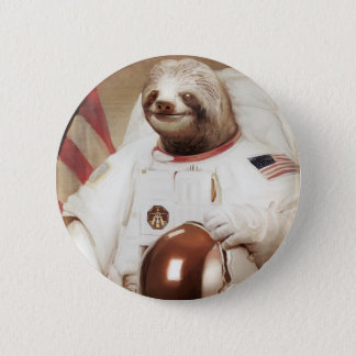 astronaut sloth pinback button