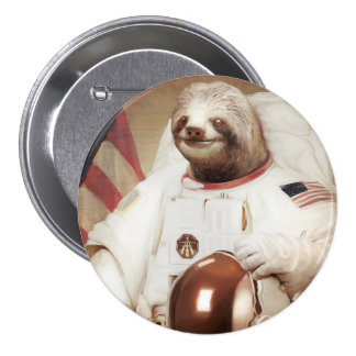 Astronaut Sloth Round Button