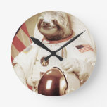 Astronaut Sloth Round Clock