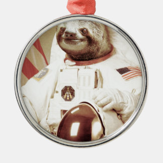 Astronaut Sloth Round Metal Christmas Ornament