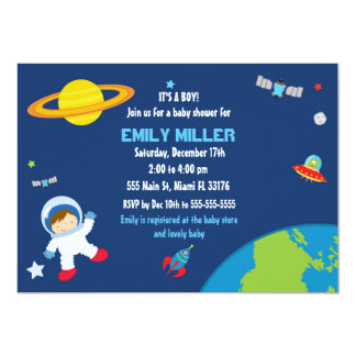 Astronaut Space Baby Shower Invitation