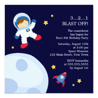 """Astronaut Space Birthday Party 5.25"""" Square Invitation Card"""