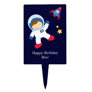 Astronaut Space Birthday Party Personalized Cake Picks
