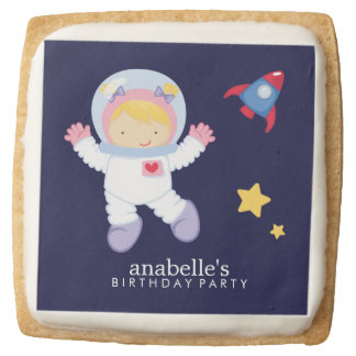 Astronaut Space Birthday Party Personalized Square Premium Shortbread Cookie