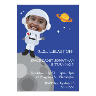 Astronaut Space Explorer Birthday Photo Templase Card