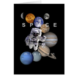 astronaut space mission solar system planets card