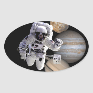 astronaut space mission solar system planets oval sticker