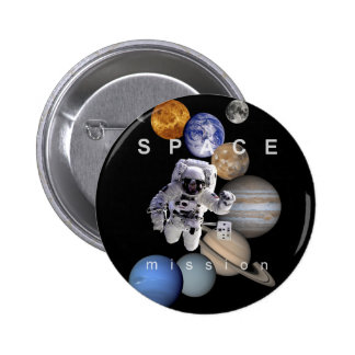 astronaut space mission solar system planets pinback button