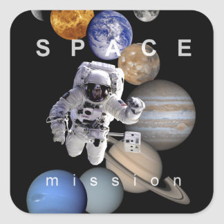 astronaut space mission solar system planets square sticker