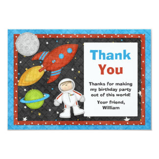 "Astronaut Space Rocket Birthday Thank You Card 3.5"" X 5"" Invitation Card"