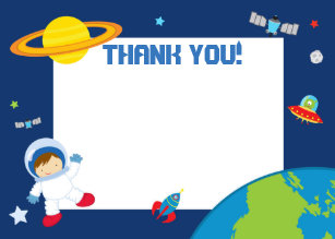 Blank invitations announcements zazzle astronaut space thank you card blank m4hsunfo