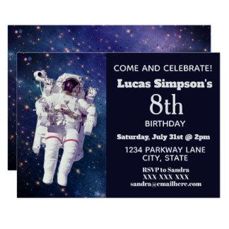 Astronaut Space Themed Birthday Invitations