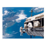 Astronaut Space Walk Above Earth Post Card