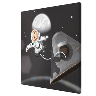 Astronaut Space Walk outside capsule Canvas Print