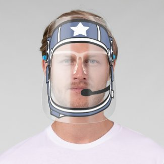 Astronaut Spaceman Space Helmet Blue With Star Face Shield