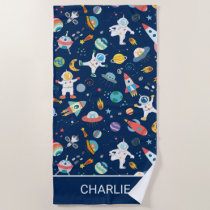 Astronaut Spaceships Outer Space Personalized Kids Beach Towel