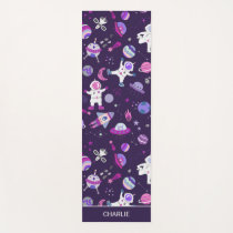 Astronaut Spaceships Outer Space Personalized Kids Yoga Mat