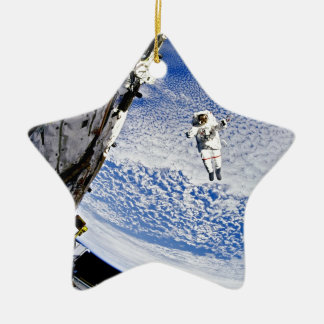 Astronaut Spacewalk Double-Sided Star Ceramic Christmas Ornament