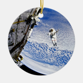 Astronaut Spacewalk Double-Sided Ceramic Round Christmas Ornament