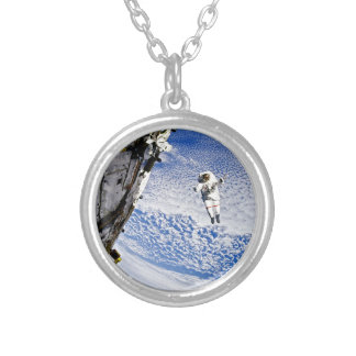 Astronaut Spacewalk Silver Plated Necklace