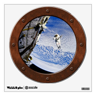 Astronaut Spacewalk Steampunk Porthole Window Wall Graphics