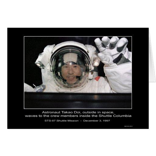 Astronaut Takao Doi, outside NASA Space Shuttle Co Card