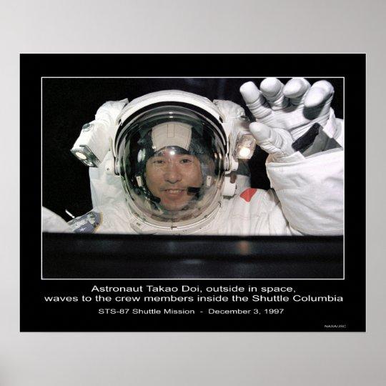 Astronaut Takao Doi, outside NASA Space Shuttle Poster