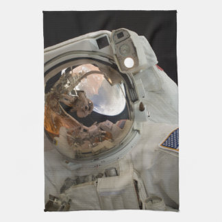 ASTRONAUT  TAKING PICTURE OF ANOTHER ASTRONAUT KITCHEN TOWEL