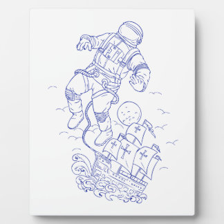 Astronaut Tethered Caravel Ship Drawing Plaque