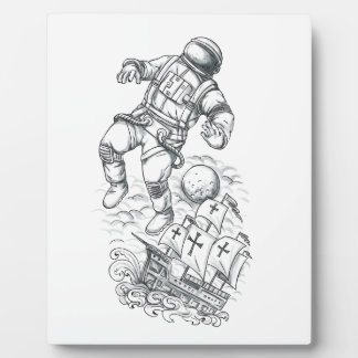 Astronaut Tethered to Caravel Tattoo Plaque