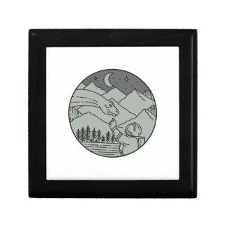 Astronaut Touching Brontosaurus Circle Mono Line Gift Box