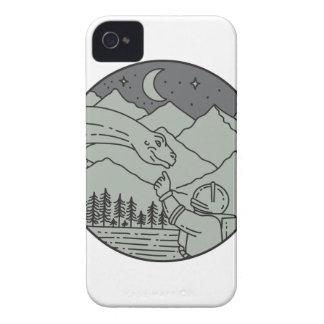 Astronaut Touching Brontosaurus Circle Mono Line iPhone 4 Case-Mate Case