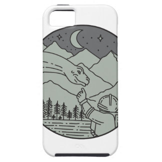 Astronaut Touching Brontosaurus Circle Mono Line iPhone SE/5/5s Case