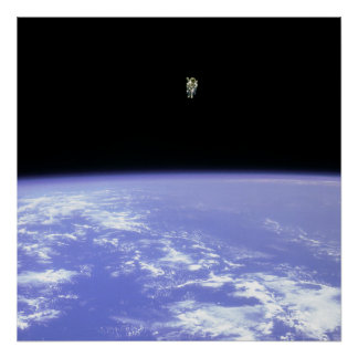 Astronaut using Manned Manuevering Unit in Space Poster
