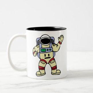 Astronaut Waving Two-Tone Coffee Mug