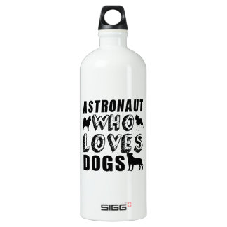 astronaut Who Loves Dogs Aluminum Water Bottle