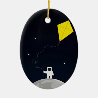 Astronaut with a Kite Ceramic Ornament